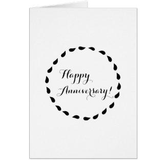 Aniversário minimalista branco preto do amor cartão
