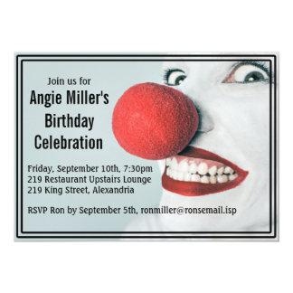 Aniversário moderno da cara engraçada do palhaço convite 12.7 x 17.78cm