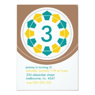 Aniversário moderno dos cupcakes convite 12.7 x 17.78cm