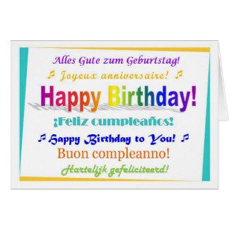 Aniversário multilingue cartões