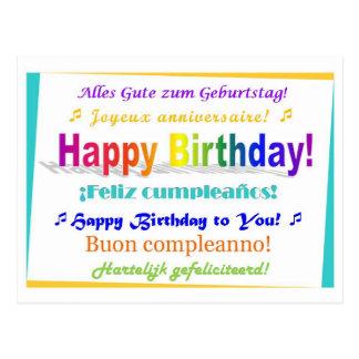 Aniversário multilingue cartão postal