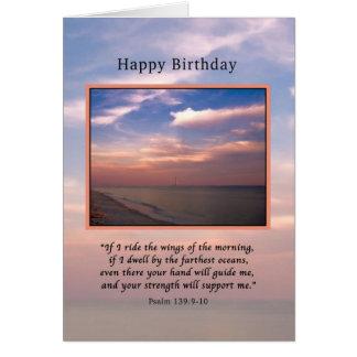 Aniversário, nascer do sol na praia, religiosa cartão comemorativo