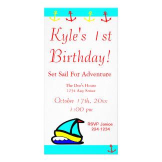 Aniversário náutico do veleiro cartões com foto