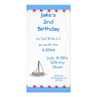 Aniversário náutico do veleiro de Litte Cartões Com Fotos Personalizados