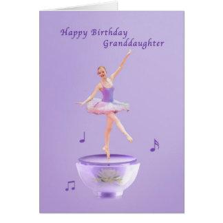 Aniversário, neta, bailarina da caixa de música cartão comemorativo
