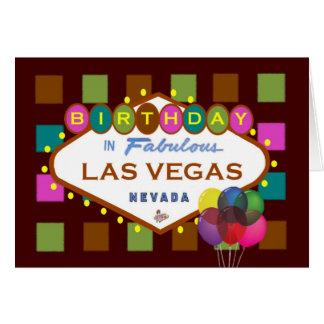 ANIVERSÁRIO no cartão de Las Vegas, balões!