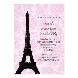 Aniversário no doce dezesseis de Paris Convite 12.7 X 17.78cm