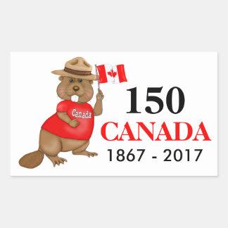 Aniversário orgulhosa canadense do castor 150 adesivo retangular