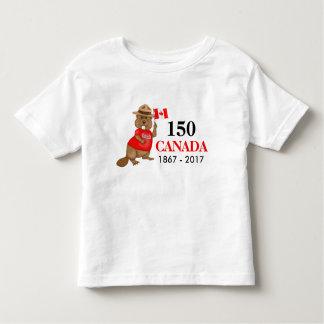 Aniversário orgulhosa canadense do castor 150 camiseta infantil