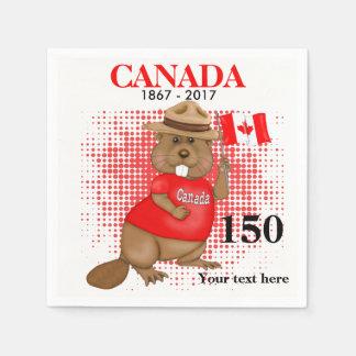 Aniversário orgulhosa canadense do castor 150 guardanapo de papel