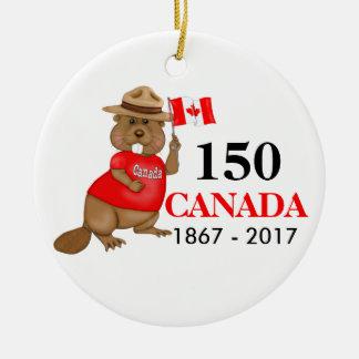 Aniversário orgulhosa canadense do castor 150 ornamento de cerâmica redondo