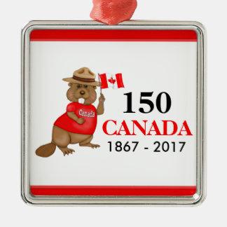 Aniversário orgulhosa canadense do castor 150 ornamento quadrado cor prata