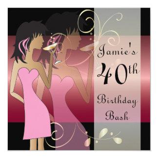 Aniversário ou partido da menina da diva de convite quadrado 13.35 x 13.35cm