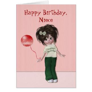 Aniversário para a sobrinha cartão comemorativo