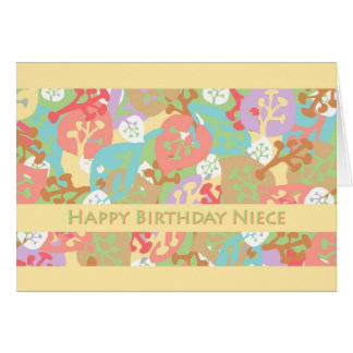 Aniversário para a sobrinha, folhas coloridas no a cartões