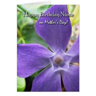 Aniversário para a sobrinha no dia das mães, flor cartão comemorativo