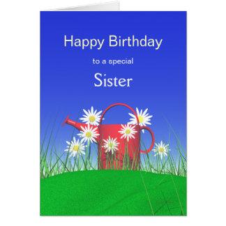 Aniversário para margaridas da irmã e a lata molha cartao