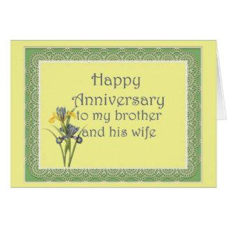 Aniversário para o irmão e a sua esposa, íris cartão