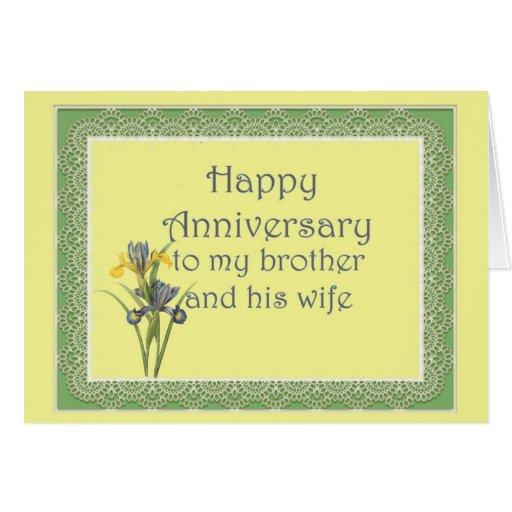 Aniversário para o irmão e a sua esposa, íris hola cartão