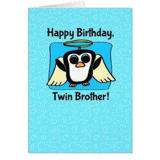 Aniversário para o irmão gémeo - pinguim pequeno cartão comemorativo
