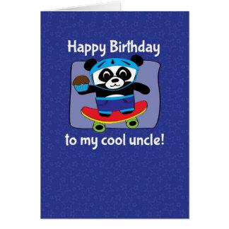 Aniversário para o tio - panda no skate cartão comemorativo