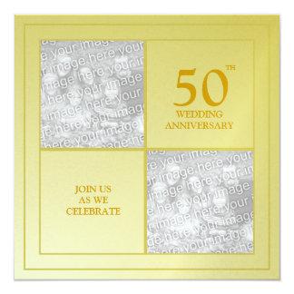 Aniversário passado & atual do ouro da foto convite quadrado 13.35 x 13.35cm