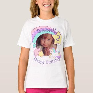Aniversário personalizado do unicórnio da foto camiseta