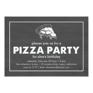 Aniversário preto & branco do partido da pizza do convite 12.7 x 17.78cm
