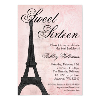 Aniversário preto cor-de-rosa do doce 16 de Paris Convite 12.7 X 17.78cm