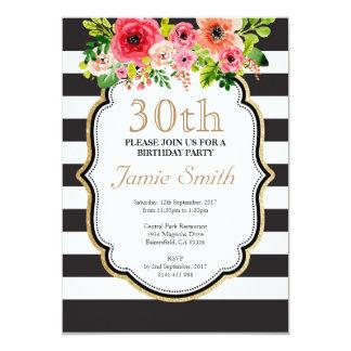 Aniversário preto e branco da listra da flor da convite 12.7 x 17.78cm