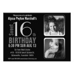 Aniversário preto e branco do doce 16 das fotos da convites personalizados