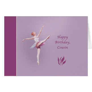 Aniversário, primo, bailarina cartao