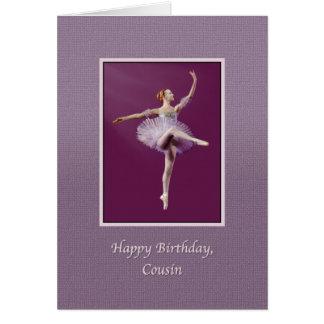 Aniversário, primo, bailarina no roxo cartão comemorativo