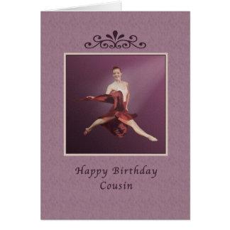 Aniversário, primo, bailarina no vermelho cartão comemorativo