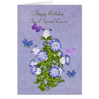 Aniversário, primo, borboletas e flores de Bell Cartão Comemorativo