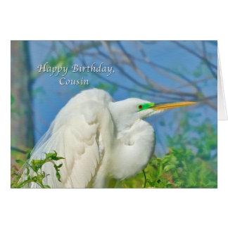 Aniversário, primo, grande pássaro do Egret Cartão Comemorativo