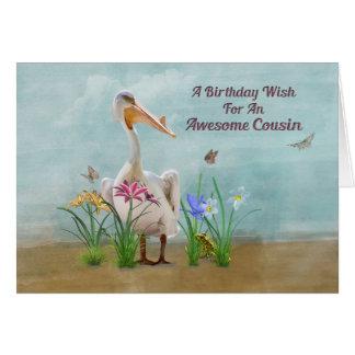 Aniversário, primo, pelicano, flores cartão comemorativo