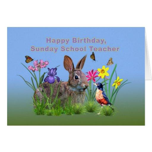 Aniversário, professor de catequese, coelho cartão