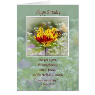 Aniversário, religioso, flores e cartão da