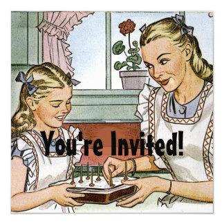 Aniversário retro das meninas convite quadrado 13.35 x 13.35cm