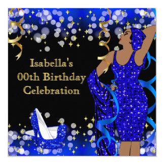 Aniversário retro dos saltos altos da senhora Azul Convite Quadrado 13.35 X 13.35cm