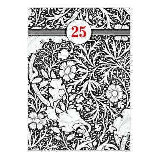 aniversário romântico preto e branco convite 12.7 x 17.78cm