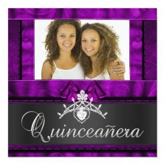 Aniversário roxo de Quinceanera das meninas dos Convite Quadrado 13.35 X 13.35cm