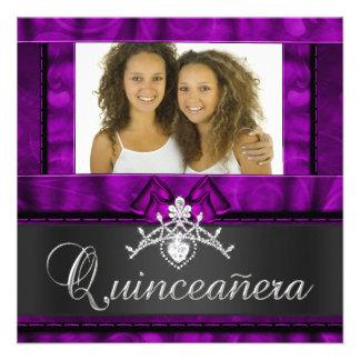 Aniversário roxo de Quinceanera das meninas dos gê Convite