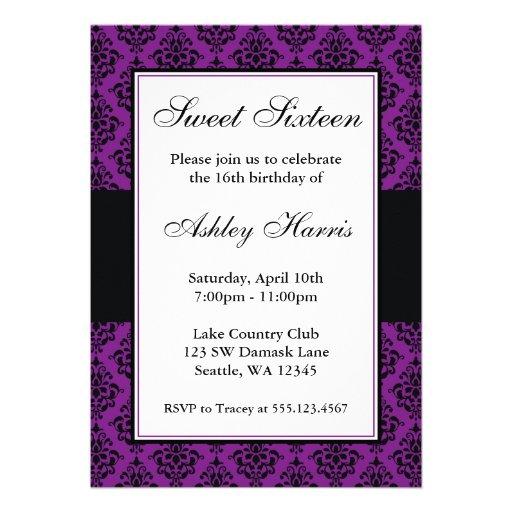 Aniversário roxo e preto do doce dezesseis do dama convite personalizados
