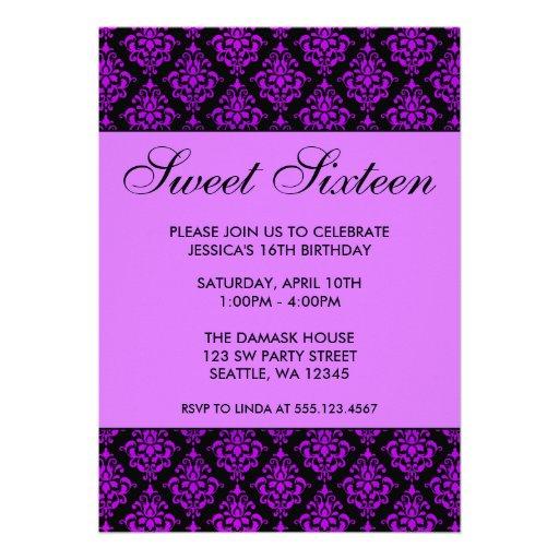 Aniversário roxo e preto do doce dezesseis do dama convites personalizados