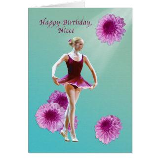Aniversário, sobrinha, bailarina com o cartão cor-