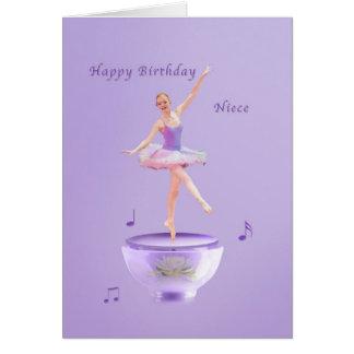 Aniversário, sobrinha, bailarina da caixa de músic cartoes