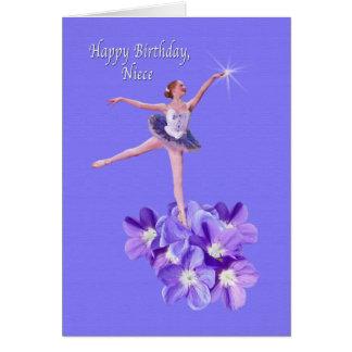 Aniversário, sobrinha, bailarina e violetas cartão comemorativo