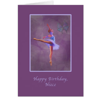 Aniversário, sobrinha, bailarina no Arabesque Cartão Comemorativo